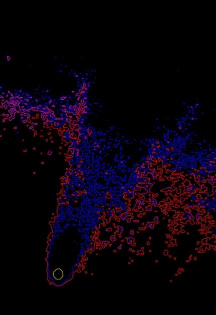 Isofotas del núcelo y la región cercaba de la cola (A.Porcel-J.Cano)