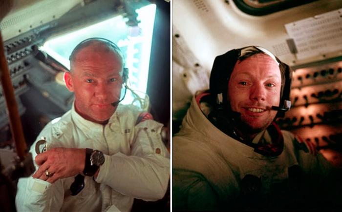 Aldrin (izda.) y Armstrong (dcha.)