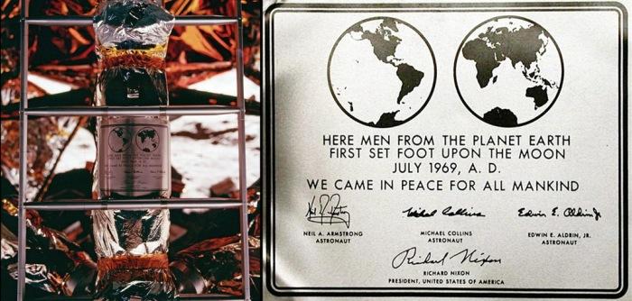 Placa dejada en la Luna por los astronautas del Apolo 11