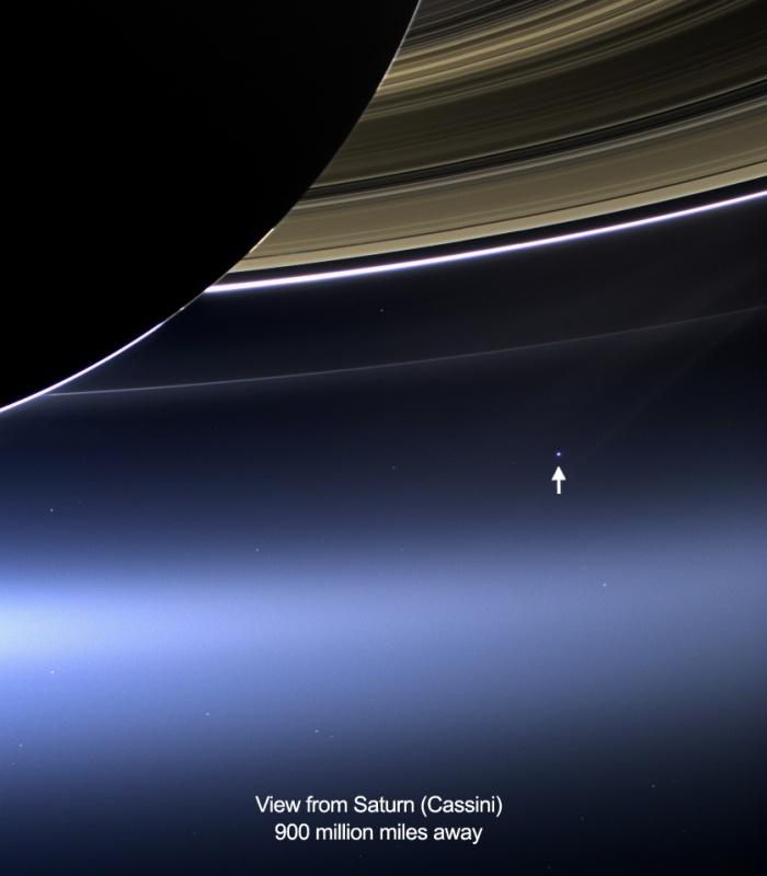 Imagen de nuestro planeta tomada por la sonda Cassini desde Saturno el 19 de julio de 2013