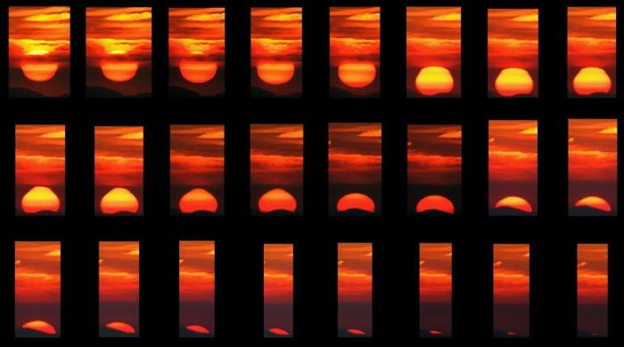 Serie 1. Puesta de Sol obtenida el 25 de junio de 2005 desde la explanada del Dornajo (Sierra Nevada). La secuencia muestra el ocaso solar en el que se aprecia las deformaciones producidas por la refracción (achatamiento) y la turbulencia atmosférica (fotografías A.Porcel).
