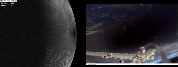 Vistas de la sombra lunar sobre la superficie de la Tierra desde el espacio. Izda. satélite meteorológico GOES Dcha. vista desde la Estación Espacial Internacional a 230 millas sobre Turquía