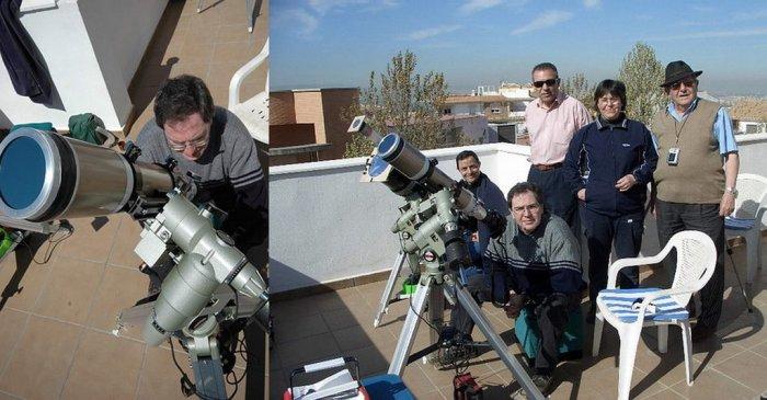 Yo junto a mi equipo de eclipses, en este caso un refractor Skywatcher 80 ED sobre montura ecuatorial (Foto J. Rios). Parte del grupo de observación -de izda. a dcha.: J. Rios, A.Porcel, J. Moreno, M.J.Gonzalez, V.Baz- (Foto Pepe Gutierrez)