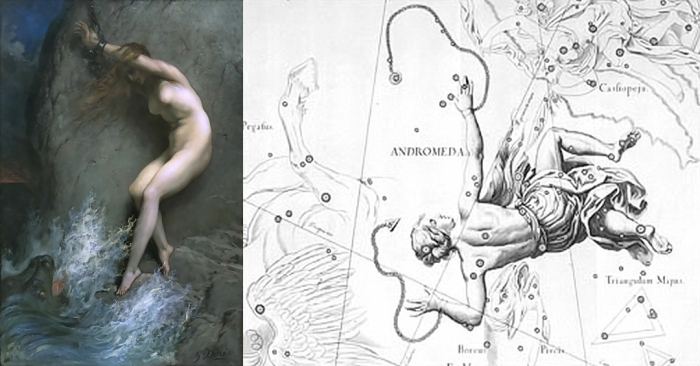 Izda. - Andrómeda encadenada a una roca (Gustave Doré, 1832 - 1883) (pulsar para ampliar). Dcha. - Representación clásica del asterismo de Andrómeda en los mapas del cielo (pulsar para ampliar).