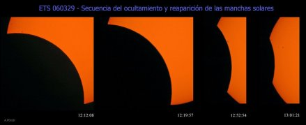 Secuencia de la ocultación de las manchas solares durante el eclipse (A.Porcel)