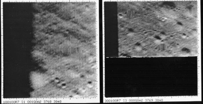 Las dos últimas tomas de la Ranger 7 antes de estrellarse en la Luna a las 13:25:45 UT en el Mar de las Nubes. Tomadas a una altura de 1070 y 519 metros, con una resolución es de 300x300 pixeles, se pueden distinguir detalles de la superficie de 1 metro.