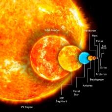 Comparación del tamaño de Betelgeuse con otras estrellas
