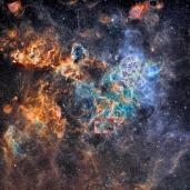 El recuadro indica la región de la SN 1987A en la nebulosa de la Tarántula