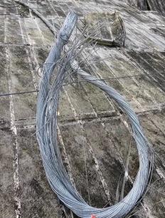 Cable seccionado tras la rotura