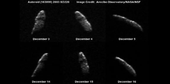 Imagen de un asteroide obtenida en Arecibo a lo largo de diciembre de 2003