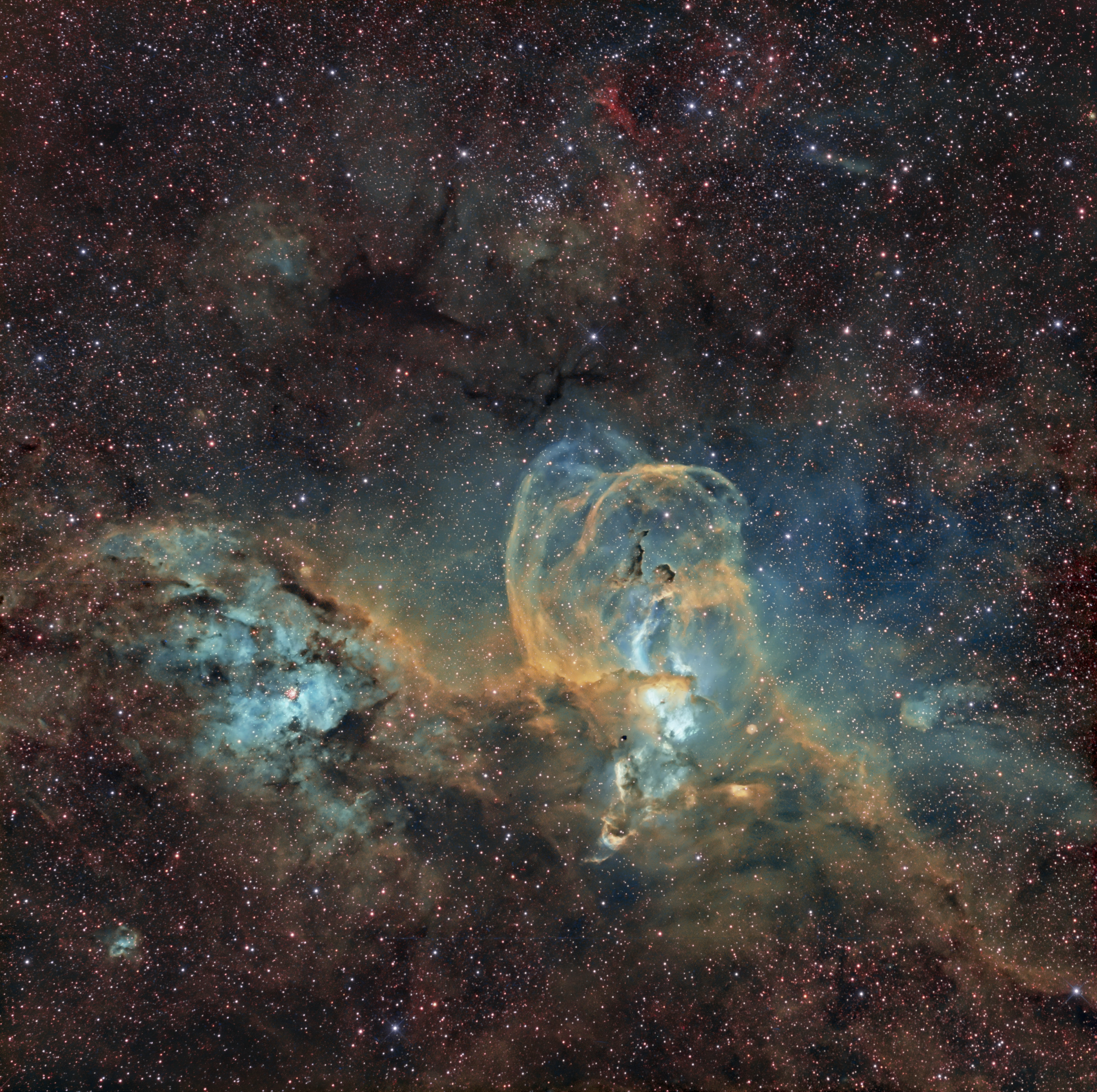 La nebulosa de la Estatua de la Libertad (NGC 3576) en banda estrecha (SHO) – A. Porcel (SAG/SAGaustral)