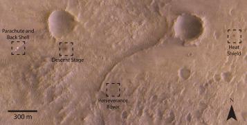 Perseverance: zona de aterrizaje con los diferentes elementos de la zonda esparcidos sobre la superficie